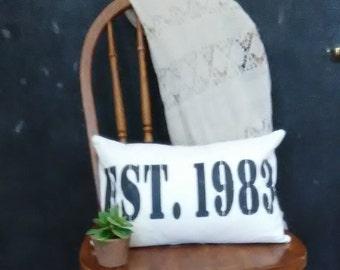 Farmhouse Established Date Pillow Cover