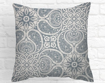 Blue  Decorative Throw Pillow. Pillow Cover  20 X 20  Colors include , blue and white. Cushion Covers   Accent Home Decor