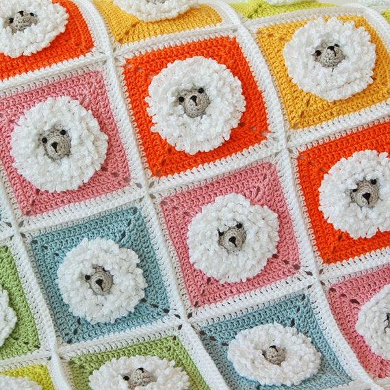 Häkelanleitung Decke/kleine Schafe Babydecke