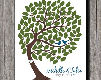 Wedding Guestbook Tree - 105 Signatures - Wedding Guest Tree - 11x14
