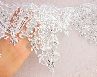 Queen Elizabeth Silver Embroidered Sequin Lace Sheer Mesh Trim / Available in IVORY WHITE & SILVER / Wedding Dress Lace / Bridal / Veil Lace
