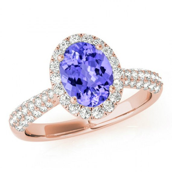 and split tanzanite oval ring shank diamond top