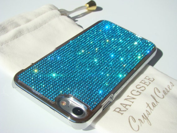 iPhone 8 Case / iPhone 7 Case Aquamarine Blue Rhinstons Crystals on  Silver Chrome Case. Velvet/Silk Pouch Included, .