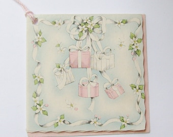 Vintage bridge tally card shower presents and strawberry flowers