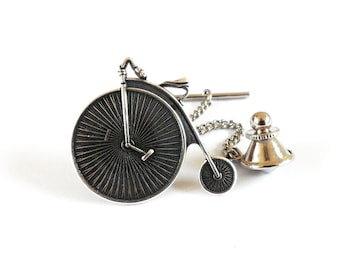 Steampunk Bicycle Tie Tack, Sterling Silver Ox Finish