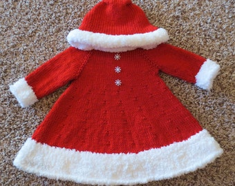 Santa's Christmas Cutie: Cozy Hooded Holiday Dress for Baby Girls