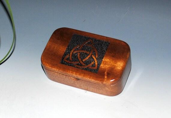 Triquetra Box-Handmade Wood Trinket Box-Mahogany Wooden Box - Desk Box-Gift Box-Business Card Box -Trinity Knot-Celtic Triangle-Treasure Box