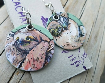 Round Sloth Earrings - At Your Own Pace - hand-painted sloth green charm earrings