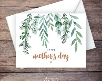 Printable Mother's Day Card, Greenery, Instant Download Greeting Card, Happy Mother's Day Card – Delilah