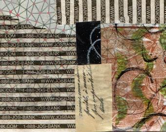 Habillé - Collage avec papiers 5 x 7 sur 8 x 10 support peint