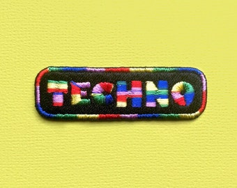Techno Patch Iron On Embroidered Patches Applique • Music Ibiza Electronic Dance Party Bass