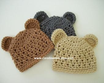 Baby Bear Hat, Crochet Baby Hat, Newborn Photo Prop, Baby Shower Gift, Baby Bear Beanie, Coming Home Hat, Hospital Hat, Newborn Bear Hat