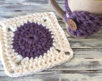 Mug Hug Cup Cozy / Mug Rug Crochet Coaster Set