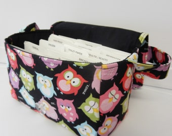 "Large 4"" Size Coupon Organizer Holder  Budge Organizer Coupon Bag Attaches to Shoping Cart- Snooze Owls Pick YOur Size"