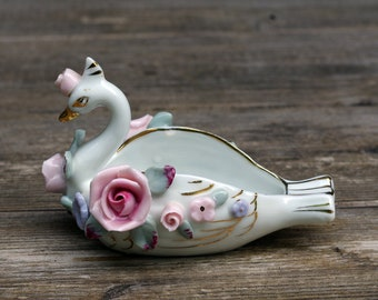Lefton Porcelain Swan Figurine with Roses