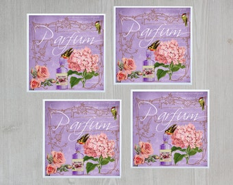 Purple Coasters Purple Tile Coasters Purple Ceramic Tile Coasters Purple Parfum Print Gift for Mom Gift for Friend Pretty Tile Coasters - 4