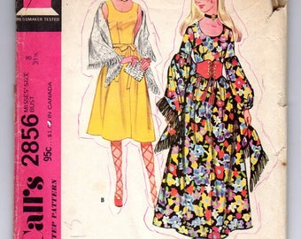 McCall's 2856: Misses Dress&shawl pattern Bohemian style dress pattern, 2 sleeves variation,70s vintage sewing pattern,Size 8 CUT unfolded,