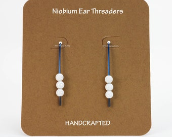Threader Earrings, Niobium Earrings, Niobium Threader Earrings, Teal Niobium Ear Threads, White Agate Earrings, Teal Niobium Jewelry