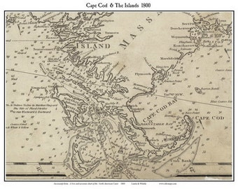 Cape Cod and The Islands 1800 - Nautical - Laurie & Whittle Reprint
