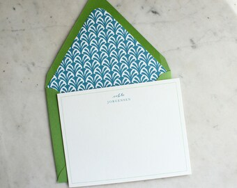 personalized women's / little girl notecards with lined envelopes - mix & match / kelly green and turquoise