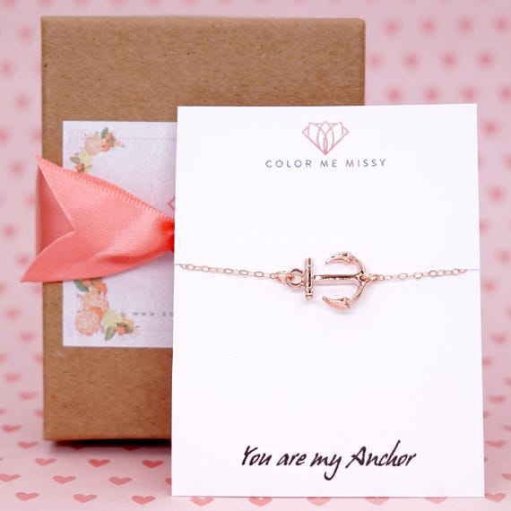 Lucky Rose Gold Anchor bracelet - rose gold filled bracelet with Anchor, Simple bridesmaid bracelet, best friends, sisters, mum, navy B102