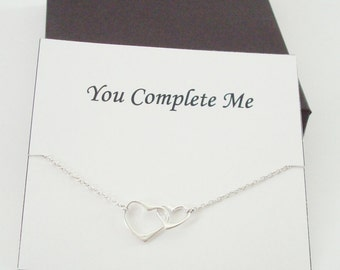 Interlocked Floating Hearts Silver Necklace ~~Personalized Jewelry Card for Best Friend, Sister, Bridal Party, Mom, Cousins, Weddings, Wife
