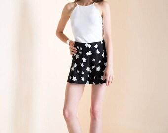 Silk shorts, High waisted shorts, Printed silk shorts, Emily short