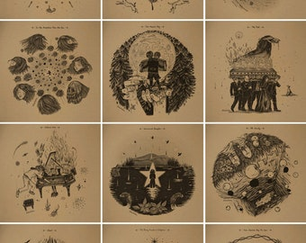 Neutral Milk Hotel's 'In The Aeroplane Over The Sea' Inspired illustrations /// Set of 12 square prints