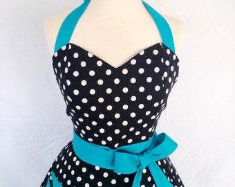 Retro Black and White Polka Dot Apron with Turquoise ties