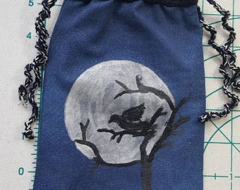 Raven in the Full Moon Tarot / Rune Bag - Double Drawstring Closure