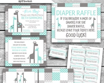 5 PDF Instant Download Plus Customized Baby Shower Invitation & Thank You Card Emailed Separately Peanut Shell Uptown Giraffe Printable JPG