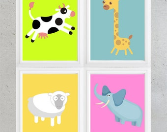 Children's room or nursery wall decor -Set of 4 Giraffe elephant sheep and cow print