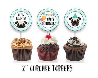 Pug Cupcake Toppers, Puppy Cake Decorations, Cupcake Toppers, Digital File, Print at home, Instant Download, Printable File