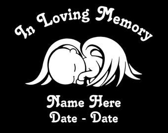 Custom Personalized Memorial for Angel Baby Vinyl Decal