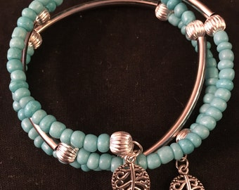 Faux Turquoise Seed Bead Wrap Bracelet  FREE SHIPPING