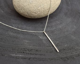 Silver necklace, Spike necklace, Fine jewelry, Layering necklace, Minimalist necklace, Bar necklace, Delicate necklace, Gift for her