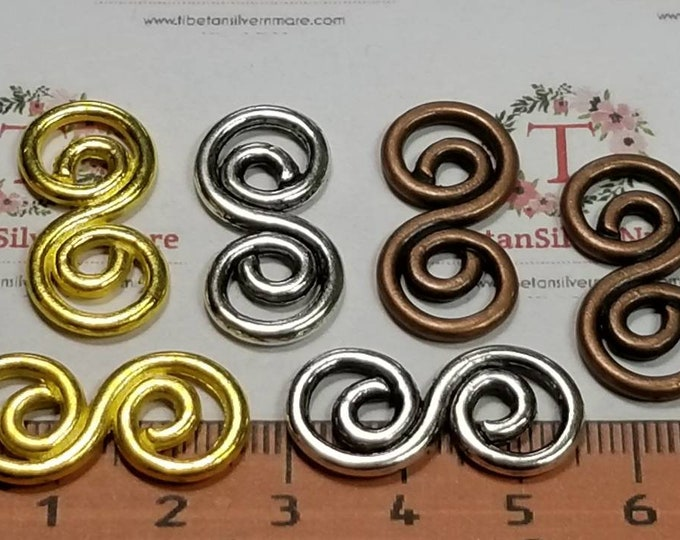 12 pcs per pack 27x14mm Double Swirl spiro Link Antique Silver, Copper or Gold tone Lead Free Pewter