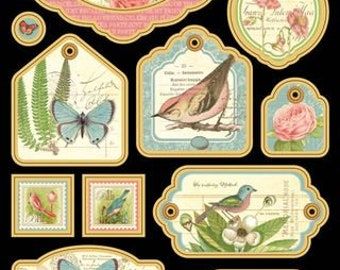 Graphic 45, Botanical Tea, Chipboard Tags, Vintage, Retired