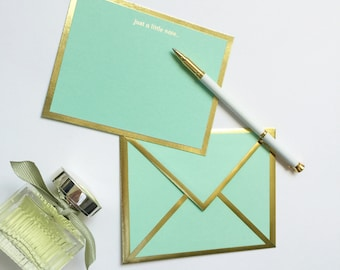 Just a Little Note Mint Green Card with Gold Foil Bordered Envelope