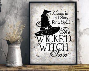 Halloween Art, Halloween decor, Halloween wall art, Wicked Witch Inn, witch decor, witch wall art, Halloween foyer art, Halloween mantel art