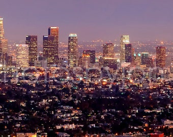 CANVAS Los Angeles Skyline DUSK LA Griffith Observatory Panoramic Photo Cityscape Print
