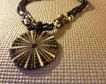 Runway Ready Pendant Choker Neclace. Black, White, Wood, Silvered Beads & And striking Star Web Pendant in Black and Tans. Handcrafted. Rare