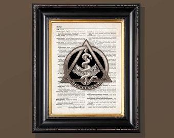 "Fine Art Print - ""Vintage Dentistry Caduceus "" Medical print, Dentistry Gift, Dentist art, Dental Graduate gift"