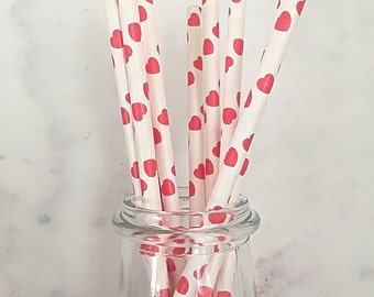 Red Hearts Paper Straws (25)