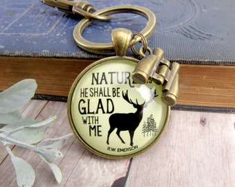 Dad Keychain Nature Deer Hunting Gift For Men Rustic Outdoorsman Father's Day Key Chain From Daughter Wife  Sportsman Gift Binoculars Charm