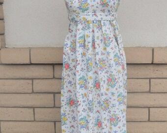 70s Floral Eyelet Empire Waist Maxi Dress w/Tie Back Size XS