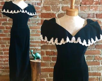 Vintage 1970's House of Bianchi Black Velvet Floor Length Evening Gown, Off Shoulder