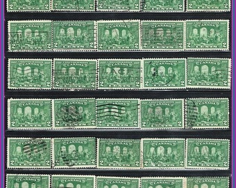 30 - Vintage Green Postage Stamps - From 1927