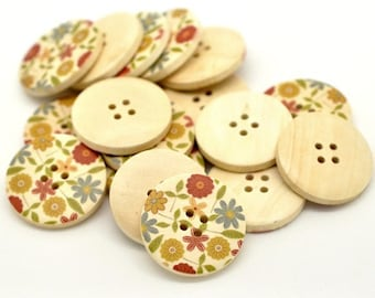 Country Flower Pattern Wooden Sewing Buttons 30mm - set of 6 natural wood button