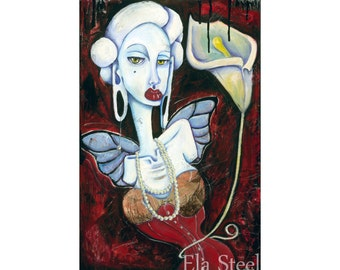NOUVEAU RICHE 8x12 PRINT of an Oil Collage Painting by Ela Steel Tight Laced Corset Woman with Butterfly Wings & Calla Lily gauged ears